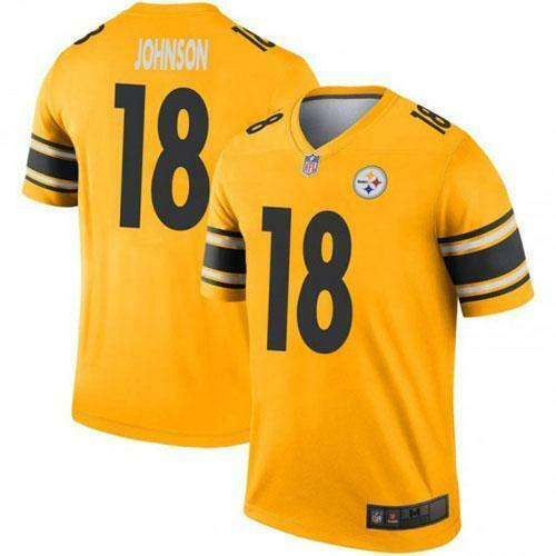 Diontae Johnson Men Game Jersey White  Black Yellow Rush Steelers