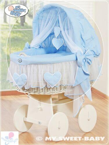 My Sweet Baby Ersatzbezug Bezug 4Tlg Ausstattung Bettwäsche für Stubenwagen Herz
