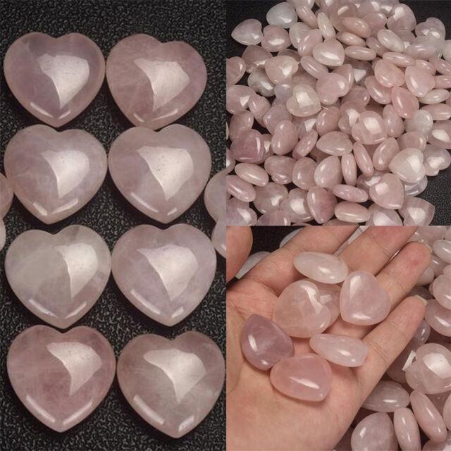 Natural Rose Quartz Crystal Carved Heart Shaped Palm Pink Love Healing Gemstone