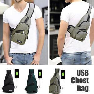 Men/'s Shoulder Sling Bag USB Charging Chest Pack Travel Crossbody Package Bag UK