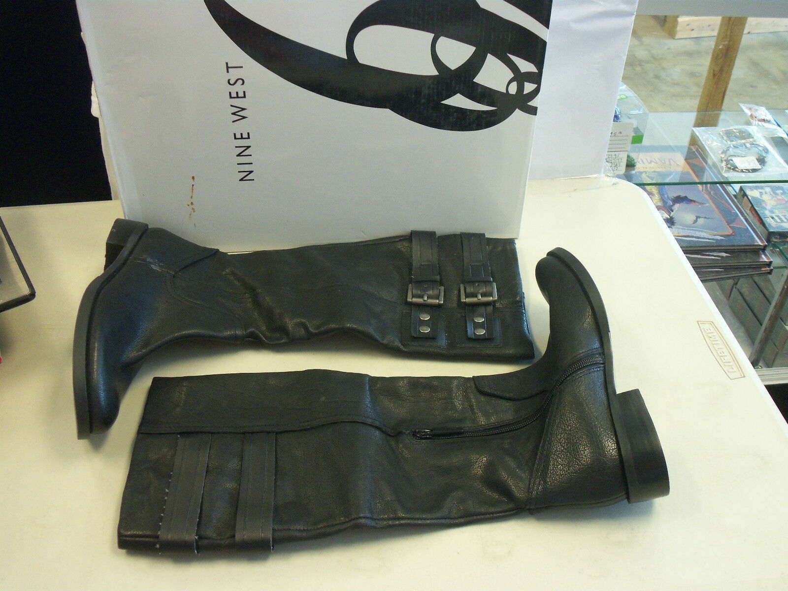 Nine West New Womens Tumble Black Leather Boots 6 M Shoes