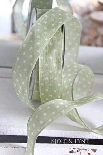 Sternchenband mit Draht NORDLICHT grün weiß 25mm Shabby Sterne DaVinci 1,10€//m