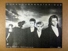1986 Duran Duran band photo Notorious album promo vintage print Ad