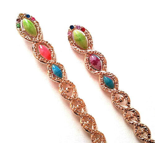 Tear Drop Design Vintage Style Hair sticks in Jade Stone Accent  and Rhinestones