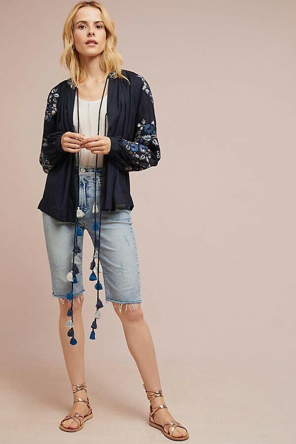 NWT Anthropologie Tasseled Peasant Jacket by Ranna Gill Retail  Blau Medium