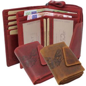 Vollleder-Damen-Geldboerse-Geldbeutel-Portmonnaie-Riegelboerse-Schmetterling-RFID