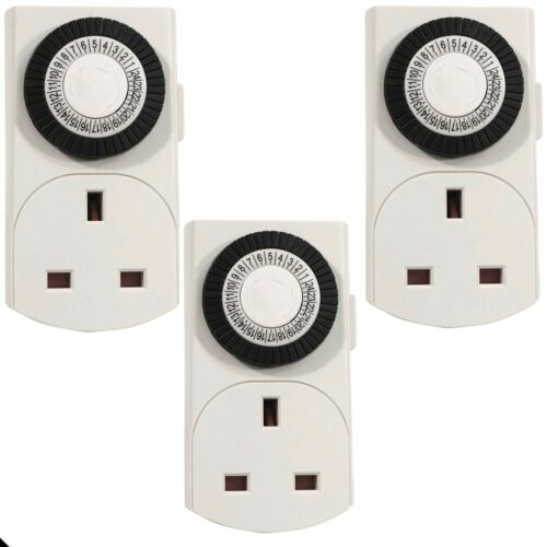 3X 24hr Secteur Plug In Timer Switch Lights Horloge temps UK 3 Pin Socket