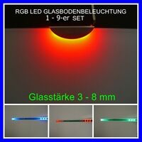 LED RGB Glasbodenbeleuchtung, Glaskantenbeleuchtung, Clip Edelstahl