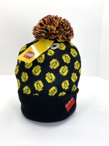 black//yellow//red Pom LEGO Beanie Hat Child Lego Figure Head Red Brick On Fold