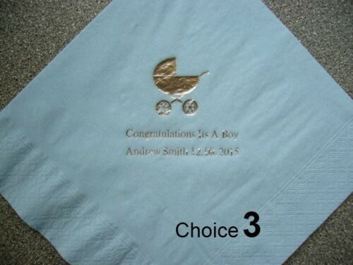 100 Personalised Christening//Baby  Napkins Various Designs /& Print colours