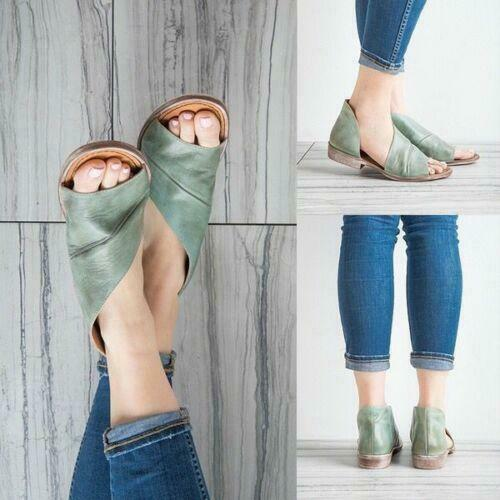 Plus Size Irregular Low Flats Sandals Open Toe Slip On Shoes Women Summer Sandal