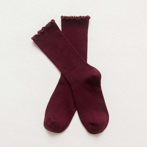 Cute Women Princess Solid Cotton Lace Ruffles Women Socks Lovely Frilly Edge B9