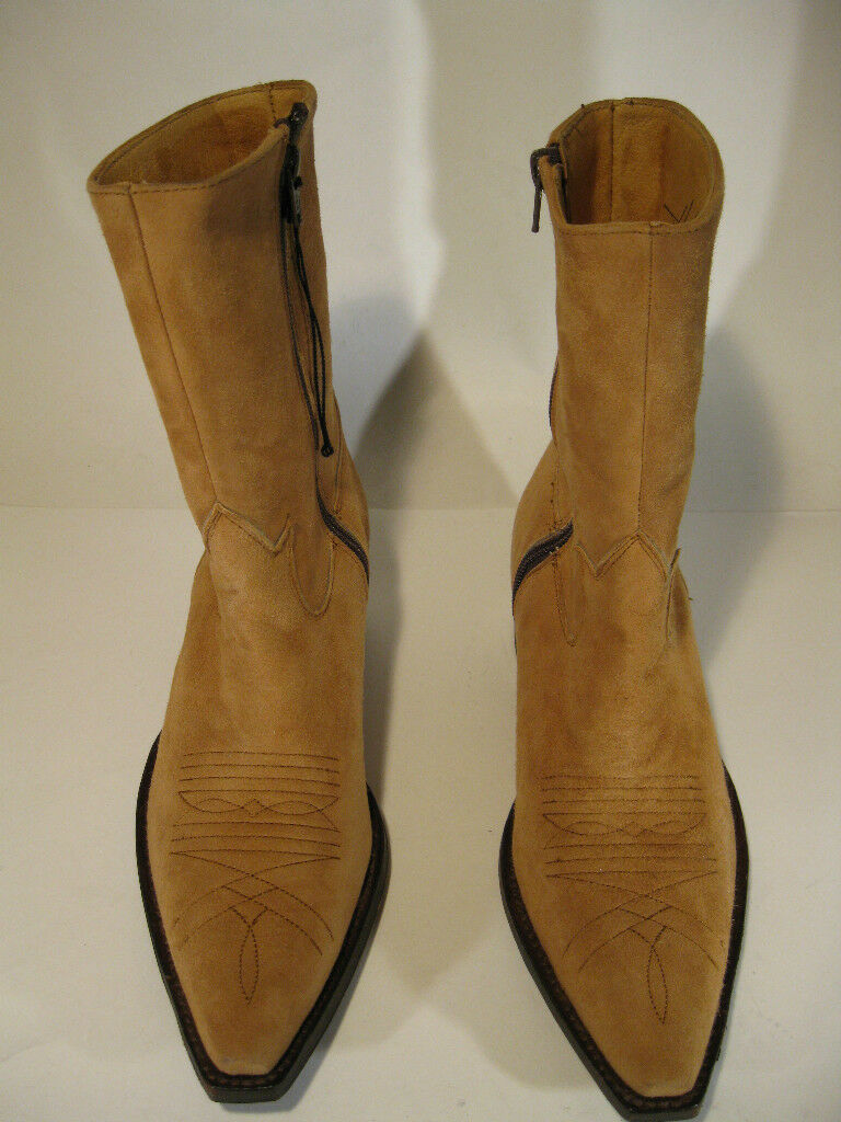 Sendra Limited Edition Handmade Camel Suede Mid-Calf Boots Size 7.5