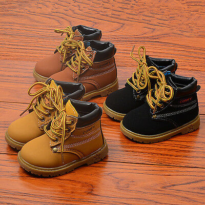 Fashion Kids Boys Warmer Martin Boots Toddler Short Boots Shoes Laces Size 5-11