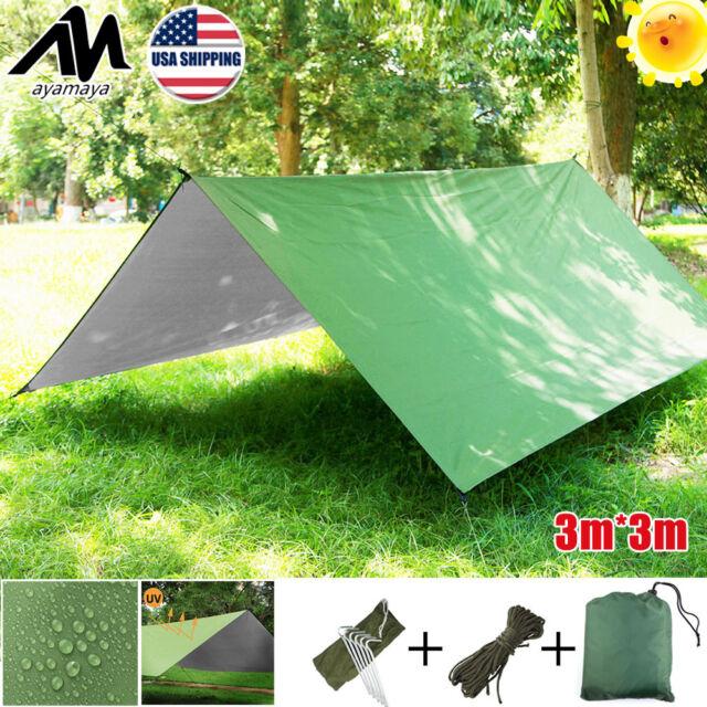 Portable Ultralight Tent Canopy Rain Fly Tarp Hammock Sun Shade Shelter  Camping