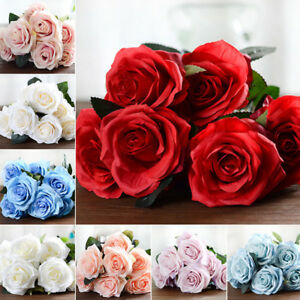 1x-10-Bottoni-a-Forma-di-Rosa-9cm-Rose-Fiori-Finti-Seta-Artificiale-Arte