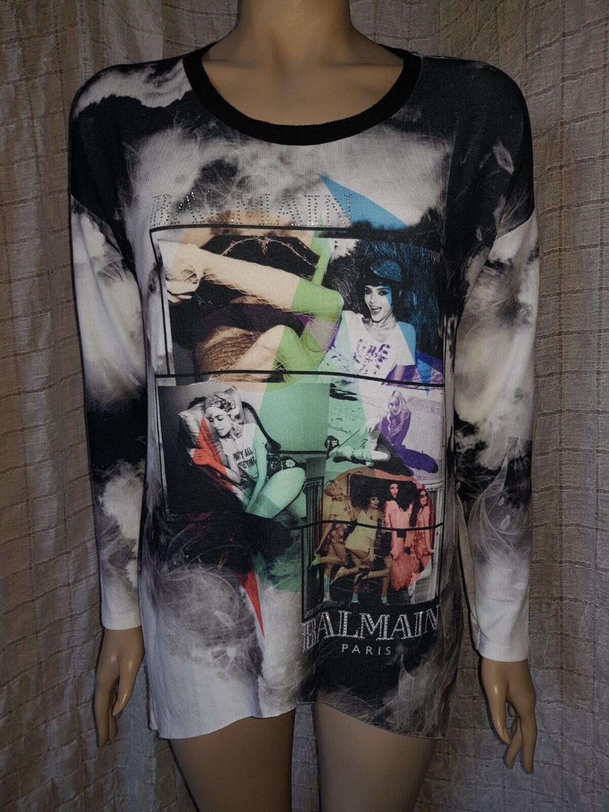 Balmain damen printed cotton bleached effect overGrößed tunic blouse Größe M