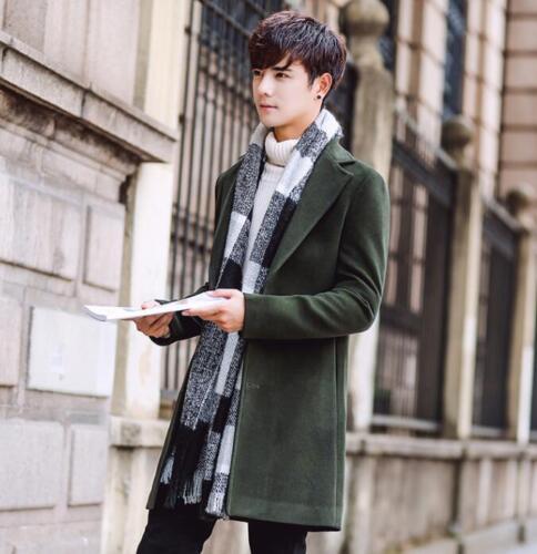 Men Slim Fit Trench Casual Coat Outwear Overcoat Chic Wool Blend Korean Parkas