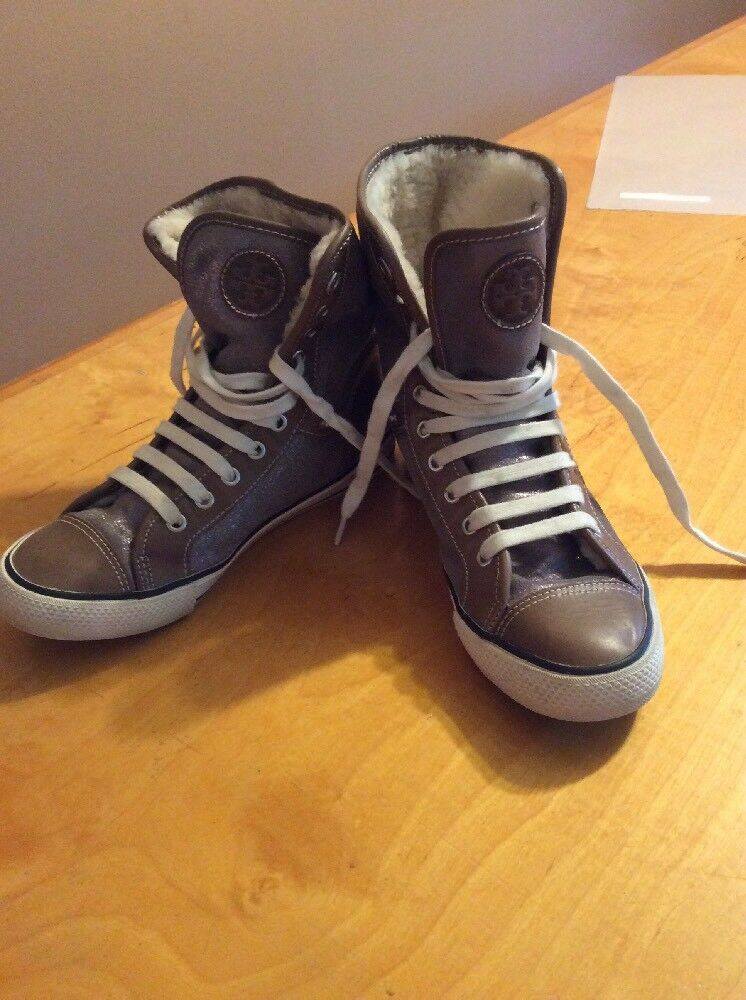 $275 Tory Burch Calf Hair & Leather High Top Sneakers KH4
