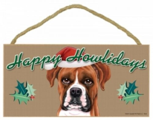 """Uncropped--Happy Howlidays Dog Decorative Wood Plaque//Sign 5/"""" x 10/"""" BOXER"""