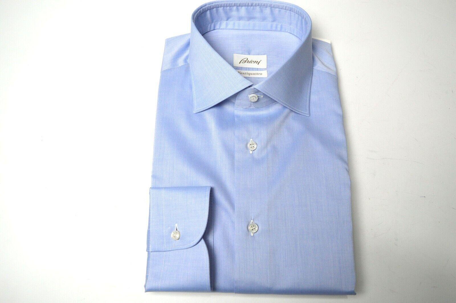 NEW BRIONI Dress Elegant hemd 100% baumwolle Größe Neck 17 Us 43 Eu Blau (SE92)