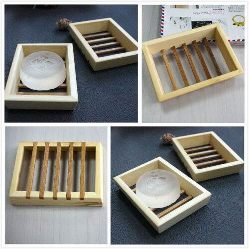1 X Natural Wood Soap Tray Holder Dish Box Case Storage Novelty Shower Bath BH