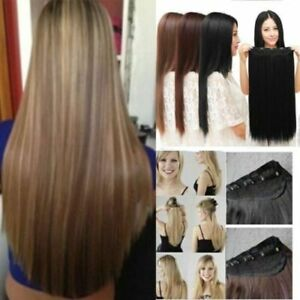 US-Straight-Curly-One-Piece-Full-Head-Clip-in-Hair-Extension-Similiar-Human-Hair
