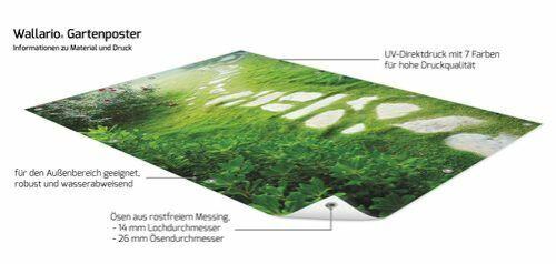 Wallario Garten-Poster Outdoor-Poster 100x150cm Steinweg Grünen stein weg grün