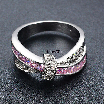 Women Pink Sapphire CZ Cross Wedding Ring 10kt White Gold Filled Size 6-10
