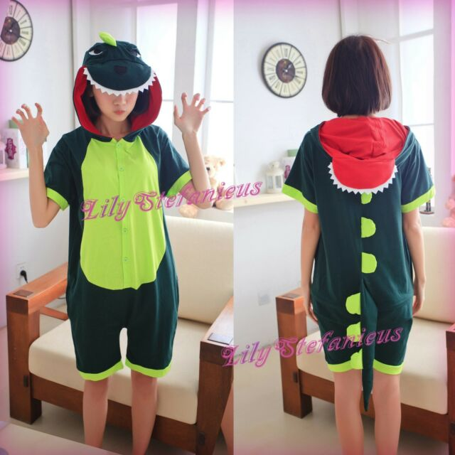New Unisex Adult Costume Cosplay Animal Green Dinosaur Summer Onesies Pajamas