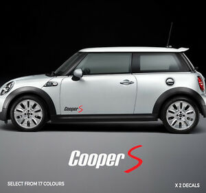 Mini Graphics Cooper S One Side Stripes Stickers Decals 2 Colour Ebay
