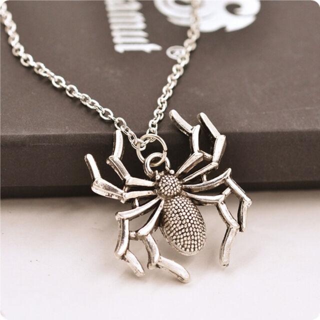 Cross Round  Halloween Pendants Chain Silver Spider Jewelry Necklace Gift Women