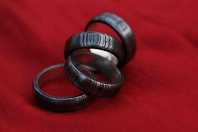 (LOT OF 4) CUSTOM DAMASCUS STEEL RING WITH SILVER LINER SIZE 10,11,11,12