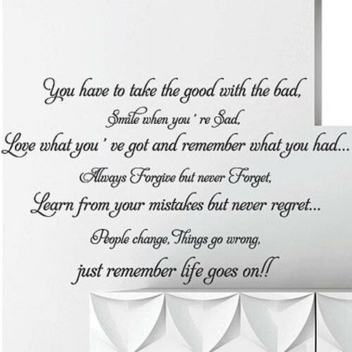 Life goes on Wall Art Quotes Wall Stickers Words Phrase home Wall Decals Mural