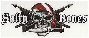 "Harpoons Skull Spear Guns Salty Bone Decal Sticker Scuba Flag Diver 3"" x 7"""