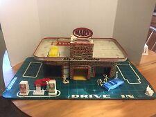 1950's Marx Tin Litho Service Center Gas Station Playset