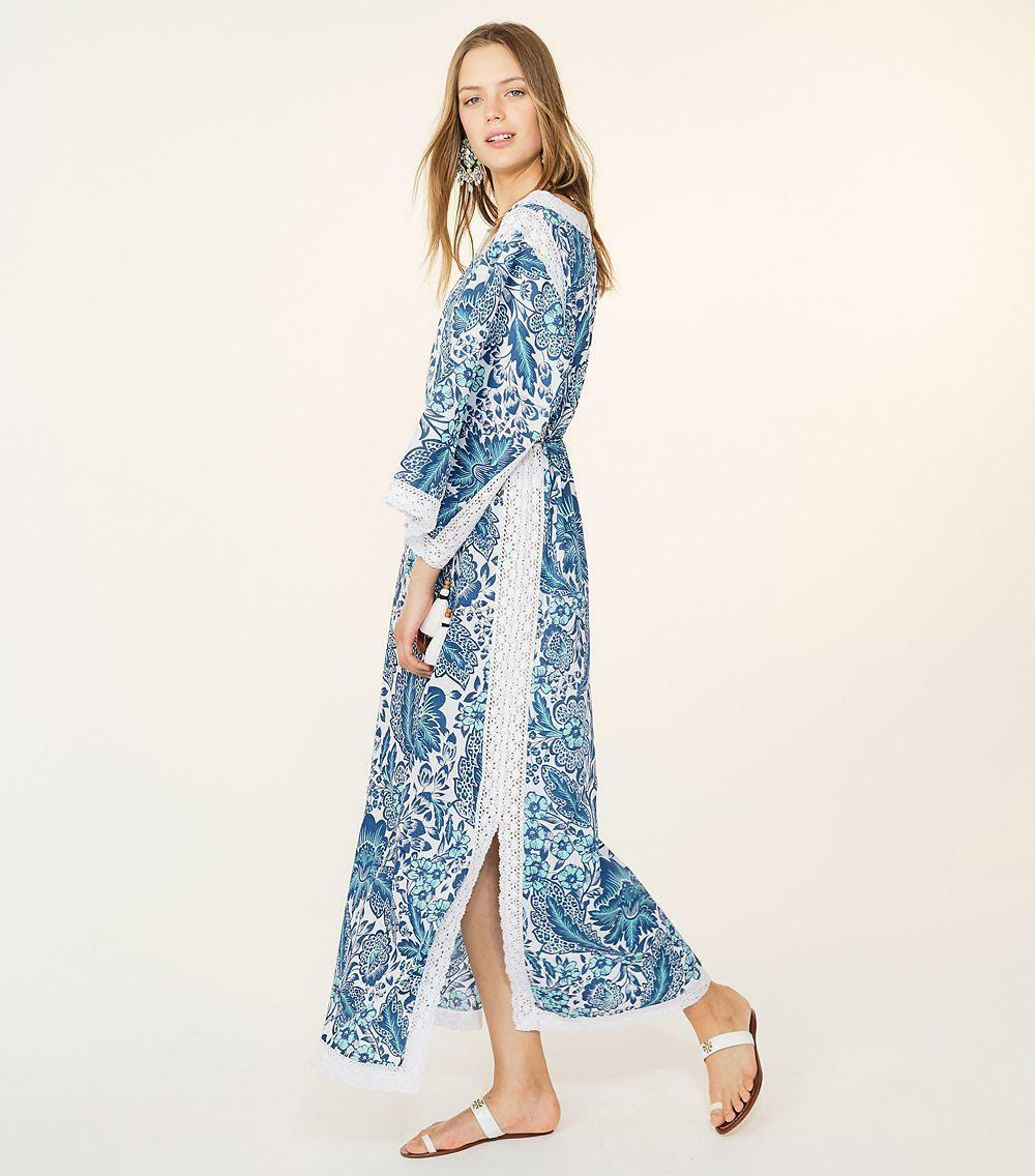 350 ny Tory Burch Hilary Caffan Broderad blå Lagoon Floral vit Dress 4