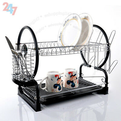 2 Tier Chrome Coated Dish Drainer Sink Rack Drip Tray Plates Cutlery Cup Holder