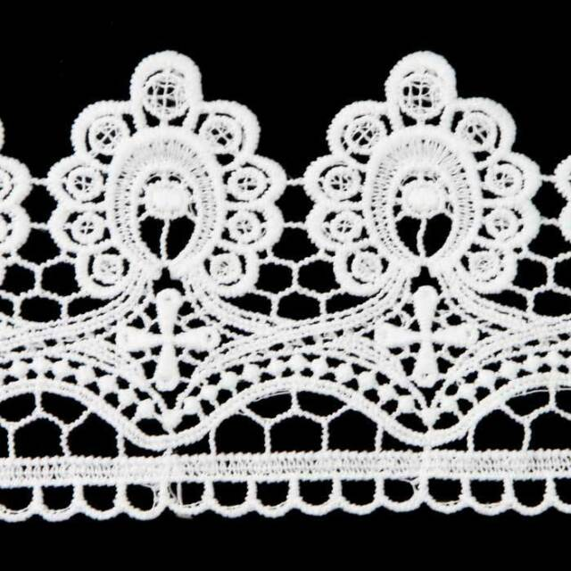 2 Yards White Color Trimmings Embroidered Net Lace Trim Ribbon Sew On Appliques