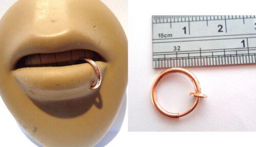 Rose Gold Titanium Fake Faux Imitation Bottom Side Lip Ring Hoop Looks 14 gauge