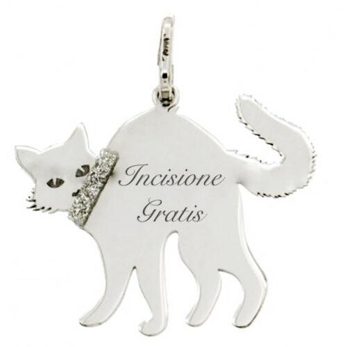Ciondolo gatto super terrorizzato in argento 925 rodiato -personalizzabile