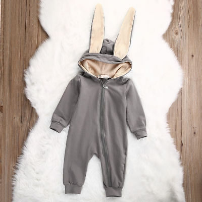 Toddler Infant Baby Girl Boy Rabbit 3D Ear Warm Hooded Romper Jumpsuit Clothes