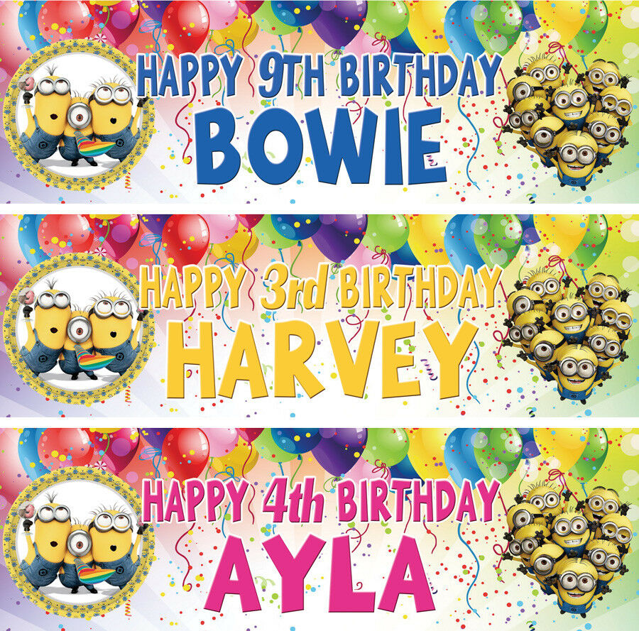 2 X Personalized Minion Despicable Me Birthday Banner