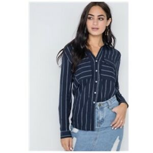 Button-Up-Collared-Dress-Shirt-Top-Navy-Blue-Striped-Long-Sleeve-Womens-M-NWT