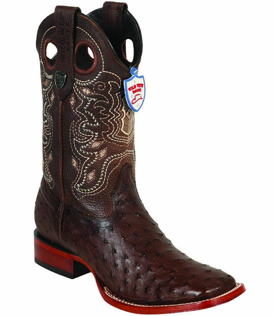 WILD WEST Marronee FULL QUILL OSTRICH COWBOY avvio RANCH-WIDE SQUARE-TOE (EE+)