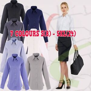 Uneek-Ladies-Pinpoint-Oxford-Full-Sleeve-Shirt-Premium-Women-039-s-Long-Formal-TOP