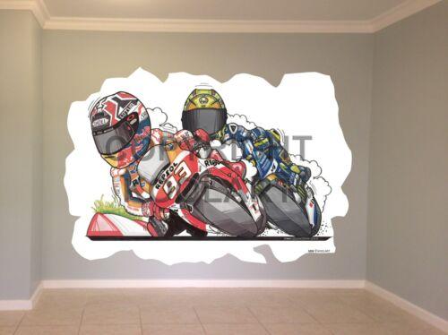 Huge Koolart Cartoon Honda Marquez Vs Rossi Wall Sticker Poster Mural 3226