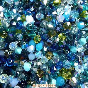 lot-de-50-Perles-Toupies-4mm-Cristal-Swarovski-MIX-MULTICOLORE-OCEAN