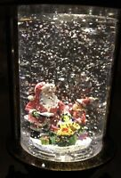 Santa Christmas Lighted Swirling Lantern Snow Globe Water 10 Night Light