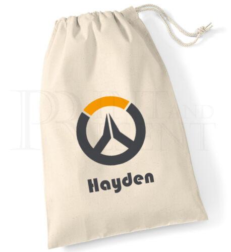 Personnalisé garçons overwatch jeu toile avec cordon de serrage pe pompe sac